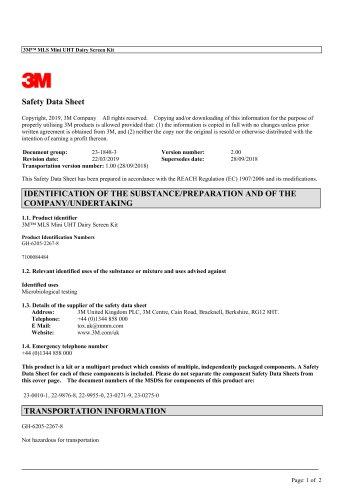 3M™ MLS Mini UHT Dairy Screen Kit