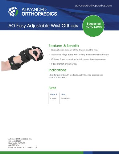 AO Easy Adjustable Wrist Orthosis