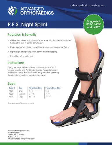 P.F.S. Night Splint