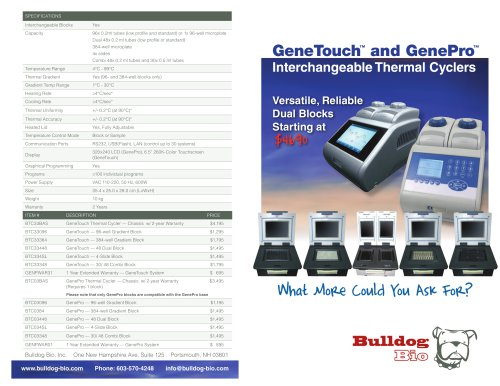 GeneTouch™ and GenePro™