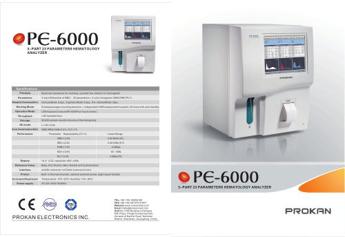 PE-6000 3-part,touch scree, full automatic hematology, flow cytometry ,