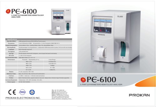 PE-6100 3-part, open system, full automatic hematology, flow cytometry ,
