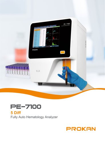 PE-7100 5-part, 5-diff full automatic hematology, flow cytometry, laser scatter