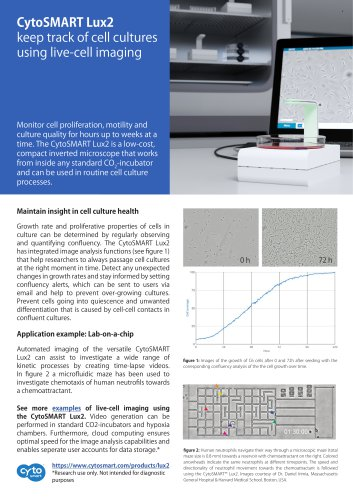 CytoSMART Lux2: Maintain insight in cell culture health