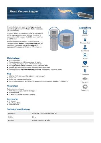 Pirani Vacuum Logger data sheet