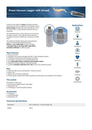 Pirani Vacuum Logger threaded data sheet