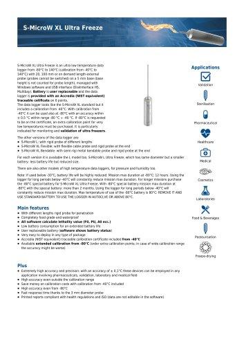 S-Micro W XL Ultra Freeze data sheet