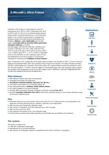 S-MicroW L Ultra Freeze data sheet