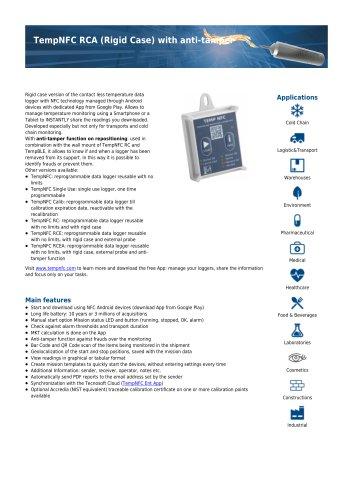 TempNFC RCA Rigid Case with anti-tamper data sheet