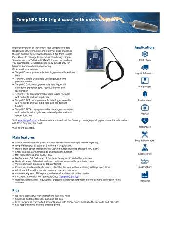 TempNFC rigid case with external probe data sheet