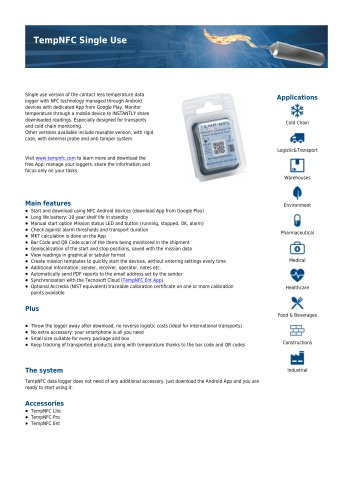 TempNFC single use data sheet