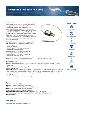 TempStick probe with thin cable data sheet