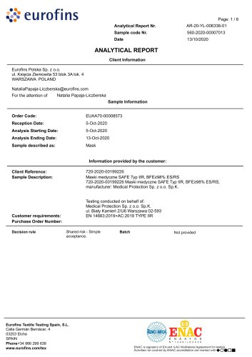 EUROFINS Laboratory report of waterproofing tests
