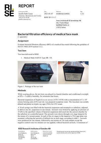 RISE Swedish laboratory raport BFE 100%