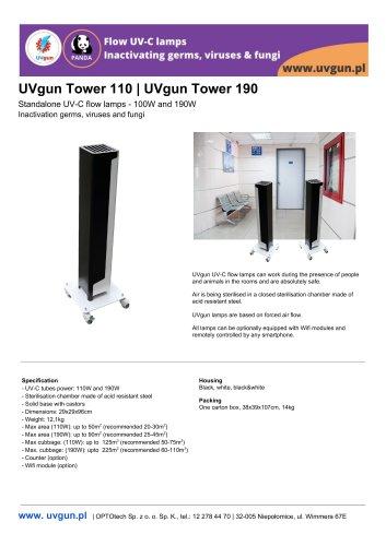UVgun Tower UV-C germicidal flow lamps