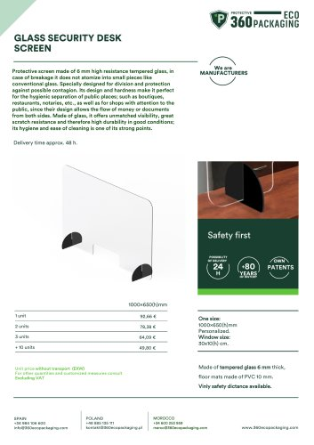 GLASS SECURITY DESKSCREEN