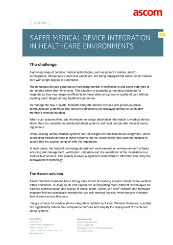 WHITE PAPER SAFER MEDICAL DEVICE INTEGRATION IN HEALTHCARE ENVIRONMENTS