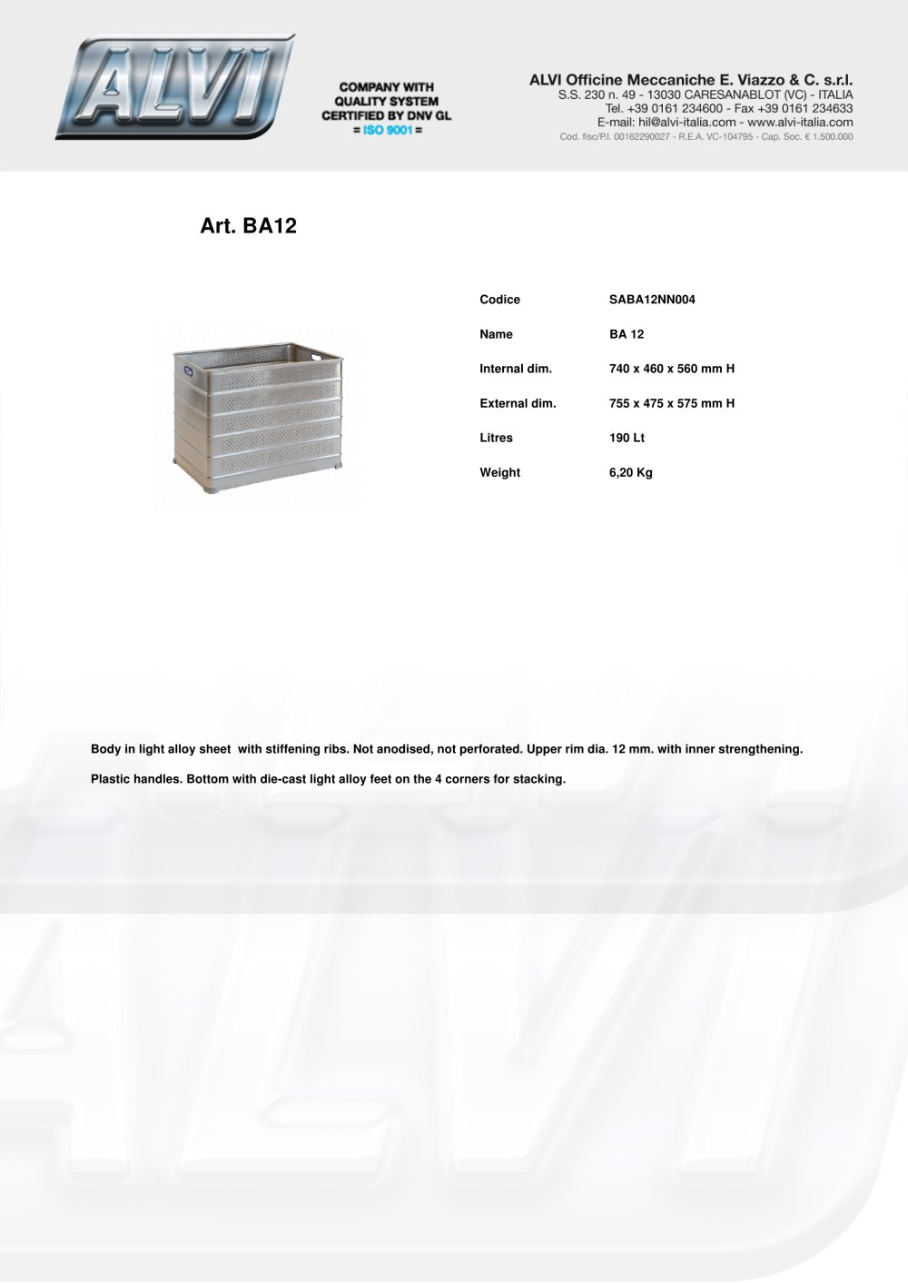 Stackable Boxes Alvi Pdf Catalogue Technical Documentation X475 Wiring Diagram 1 12 Pages