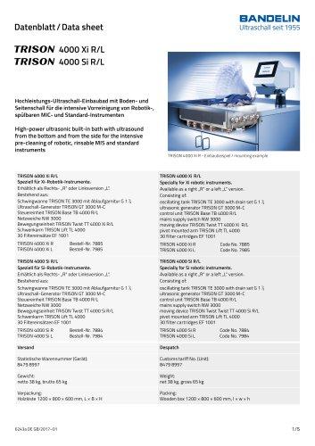 Datenblatt/ Data sheet TRISON 4000 Xi R/L TRISON 4000 Si R/L