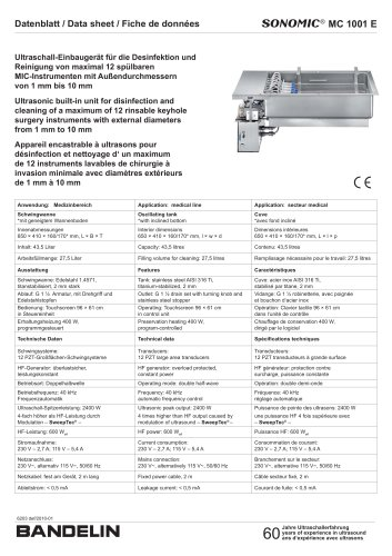 S® MC 1001 E Datenblatt / Data sheet / Fiche de données