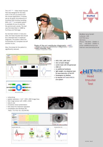 State of the art vestibular diagnostic - eHIT Head Impulse Test