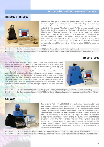 PC controlled Gel Documentation Systems