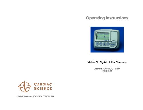 Vision 5L Holter Recorder - English Operating Instructions
