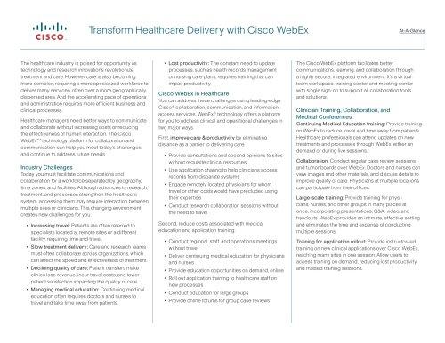 Transform Healthcare Delivery with Cisco WebEx