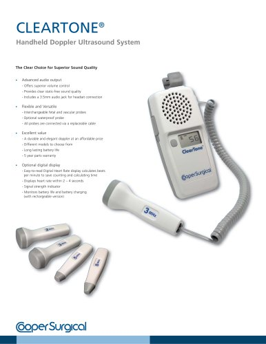 ClearTone Handheld Doppler Ultrasound System Brochure