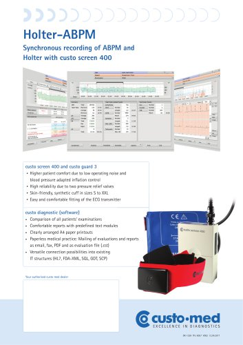 Synchronous recording of ABPM and Holter with custo screen 400