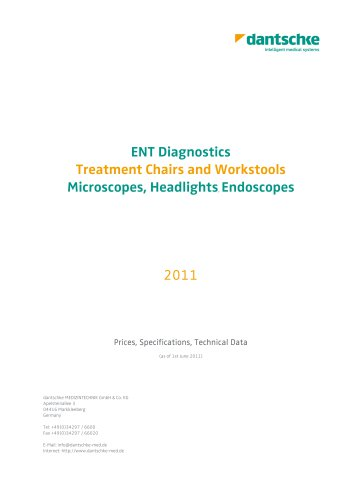 ENT Diagnostics Treatment Chairs and Workstools, Microscopes, Headlights, Endoscopes