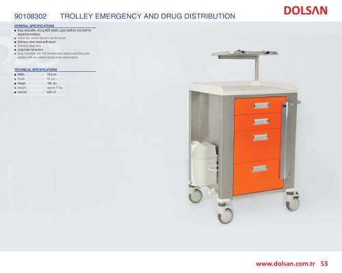 90108302 EMERGENCY AND DRUG DISTRIBUTION TROLLEY