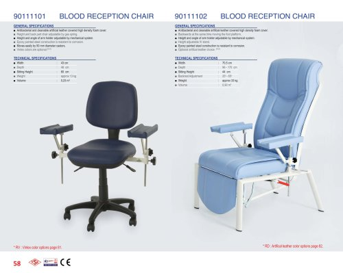 90111101, 90111102 BLOOD RECEPTION CHAIR