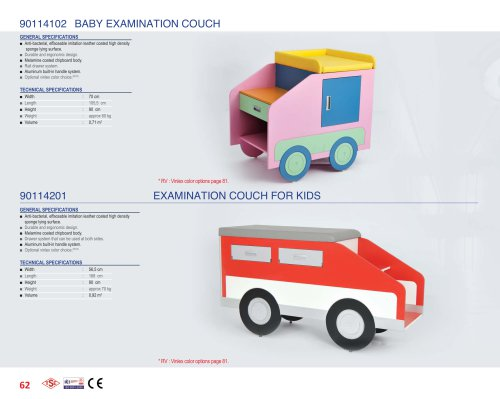90114102, 90114201 EXAMINATION COUCH FOR KIDS