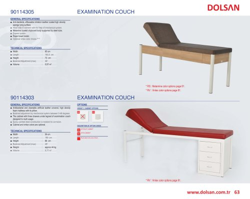 90114303, 90114305 EXAMINATION COUCH