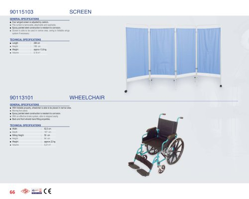 90115103 SCREEN, 90113101 WHEELCHAIR