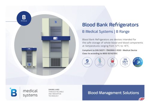 B Medical Systems Blood Bank Refrigerators