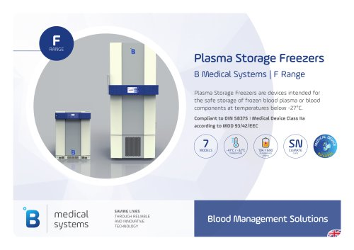 B Medical Systems Plasma Storage Freezers