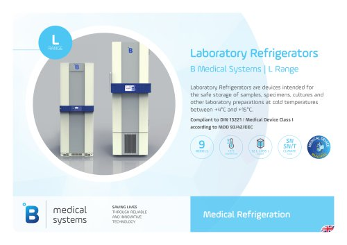Laboratory Refrigerators B Medical Systems | L Range