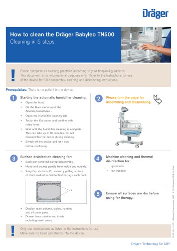 How to clean the Dräger Babyleo TN500 Cleaning in 5 steps