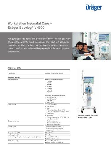 Workstation Neonatal Care - Dräger Babylog® VN500