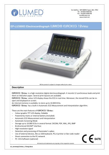 Electrocardiograph 12 channels (210 mm)
