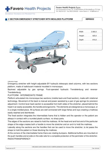2 SECTION EMERGENCY STRETCHER WITH MOULDED PLATFORM