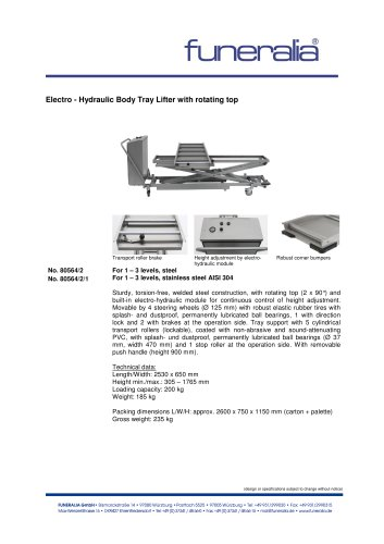 Electro Hydraulic Body Tray Lifterwith rotating top - 80564-2