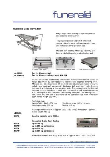 Hydraulic Body Tray Lifter