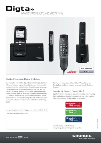 Product Overview Digital Dictation
