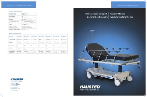 multi-purpose transport, treatment and support hausted ® horizon hydraulic stretcher series