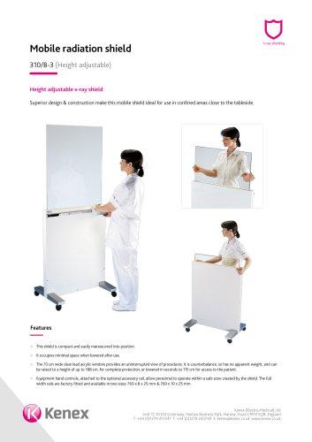 Height adjustable mobile x-ray shield 310/B-3