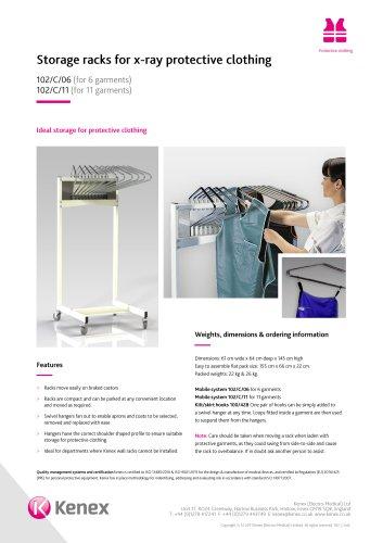 Mobile swivel arm apron rack 102/C