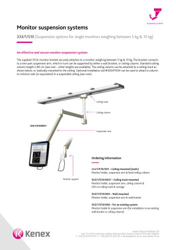 Monitor suspension systems 333